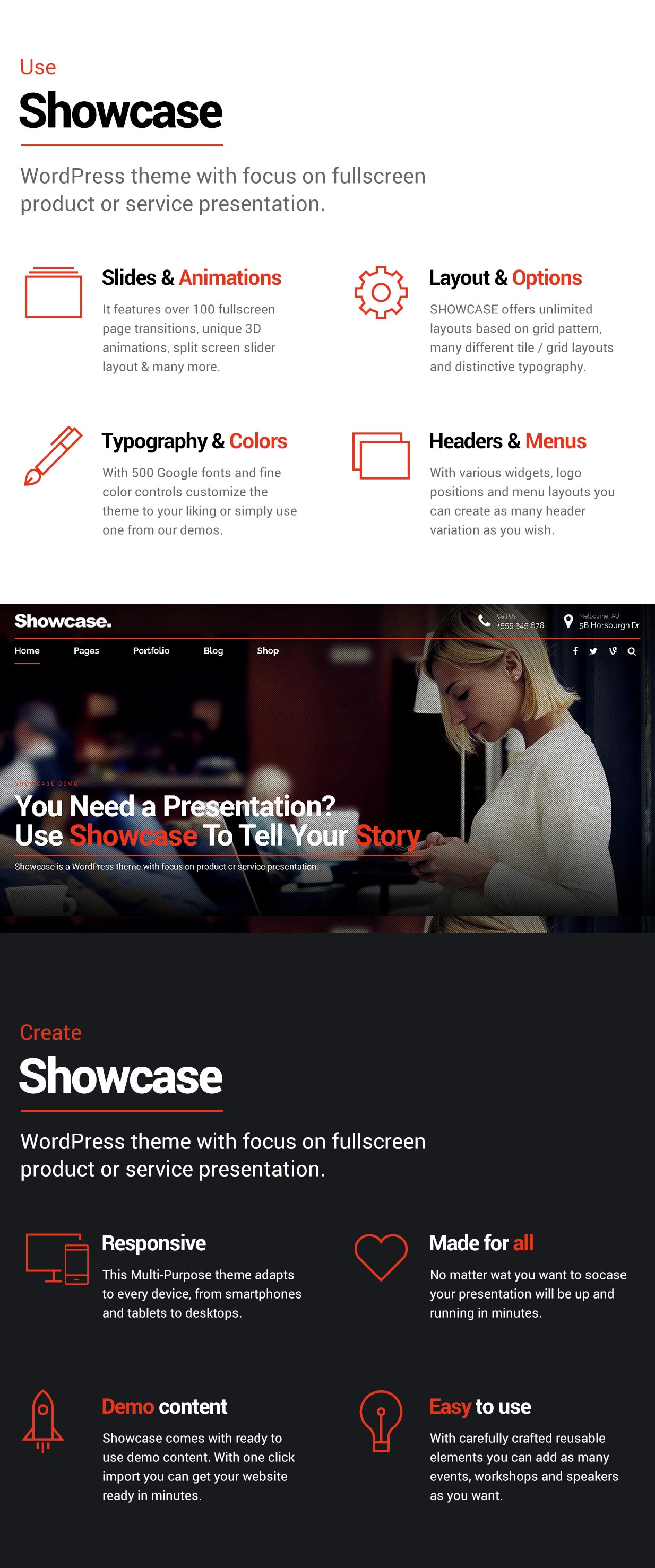 Showcase - Fullscreen Slides Wordpress Theme - 1